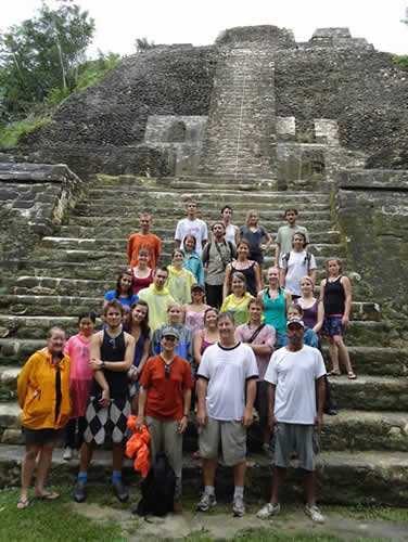 Dr. Scott Simmons and his field school crew at the site of Lamanai, Belize