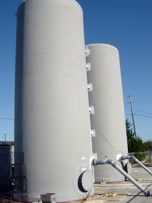 20,000 gal seawater storage tanks.