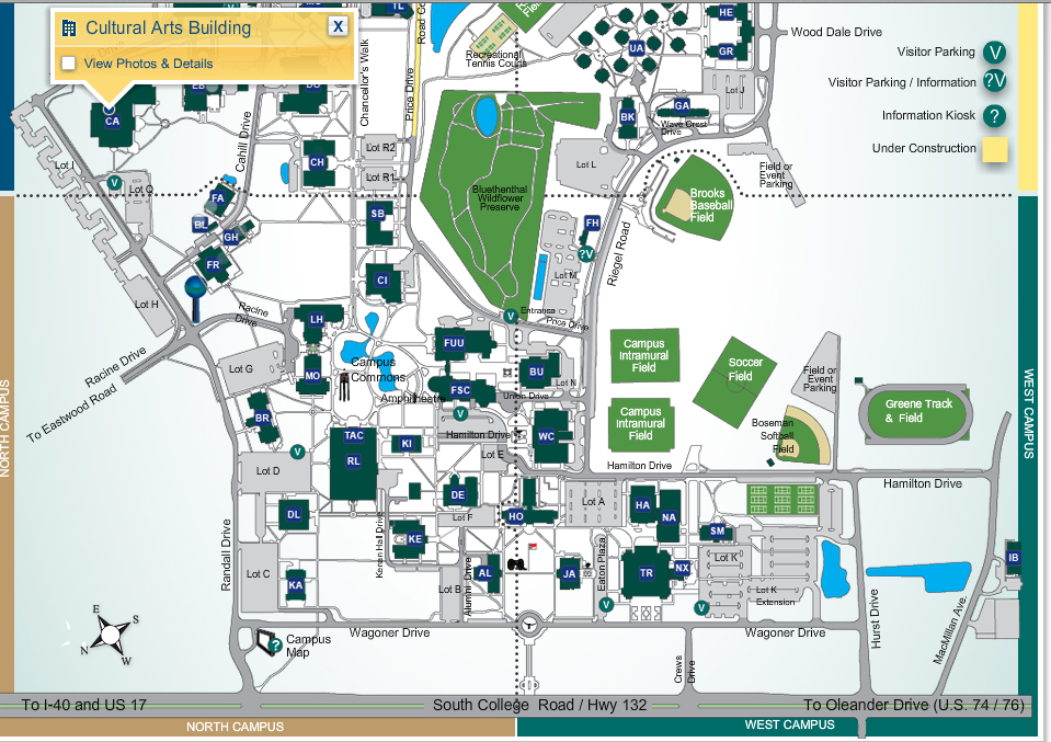 CAB Art Gallery: Academics: Art: UNCW Map Of Uncw Buildings on stanford building map, south alabama building map, unc building map, radford building map, tennessee building map, auburn building map, nccu building map, pepperdine building map, vanderbilt building map, sfsu building map, northeastern building map, usc building map, american university building map, coastal carolina building map, wichita state building map, indiana building map, old dominion building map, georgia tech building map, csuf building map, clemson building map,