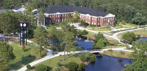 Aerial view of campus commons
