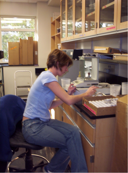 Heather Harwell weighing biomass samples for her thesis project