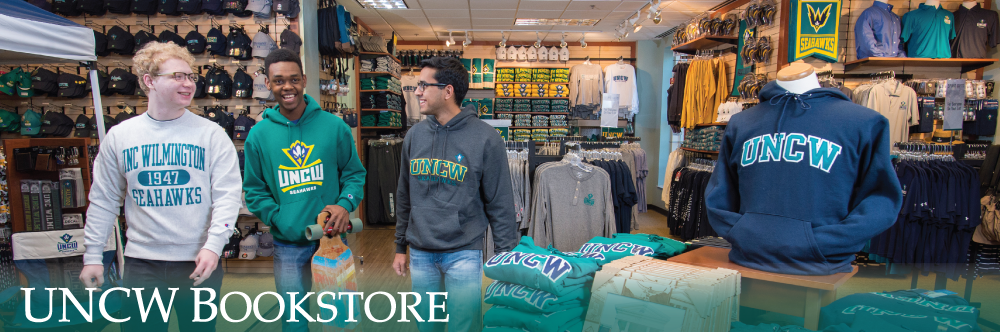 UNCW Bookstore, Students wearing bookstore attire in the store
