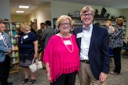 Former Watson College of Education Dean and Associate Provost Cathy Barlow, left, with current WCE Dean Van Dempsey
