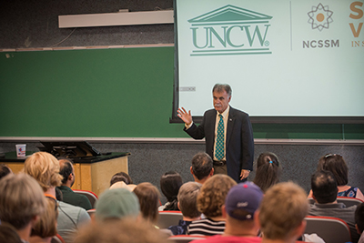 Chancellor Sartarelli speaks at the Summer Ventures opening