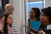 UNCW students get advice from mentors at a reception of UNCW's FuseCR (Center for Clinical Research Workforce Development).