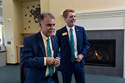 "Chancellor Sartarelli was present for the ""State of the Student Government Association"" address, delivered by SGA President Cole Tillett (right)."