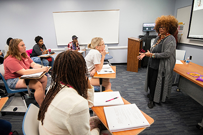 NC Poet Laureate Jaki Shelton Green holds a poetry workshop with Maia Butler's African American Literature class.