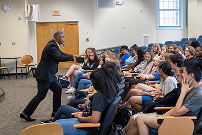 Brig. Gen. J.R. Gorham is animated as he talks to Isaac Bear Early College High School students.