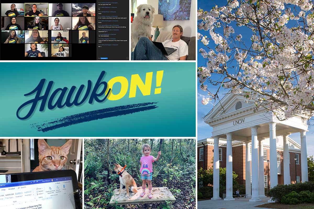 Hawk (in script writing) ON! with a blue brushed underline on a teal background, middle left. Surrounding it on three sides are (clockwise from top left) a screen shot of a Zoom meeting, a UNCW staff member and his Great Pyrenees dog, a photo of the columns between Leutze and Morton with light pink flowers on a tree in bloom and a bright blue sky, a child and her dog outdoors, and a computer screen with a yellow stripe cat peeking over the top of the monitor.