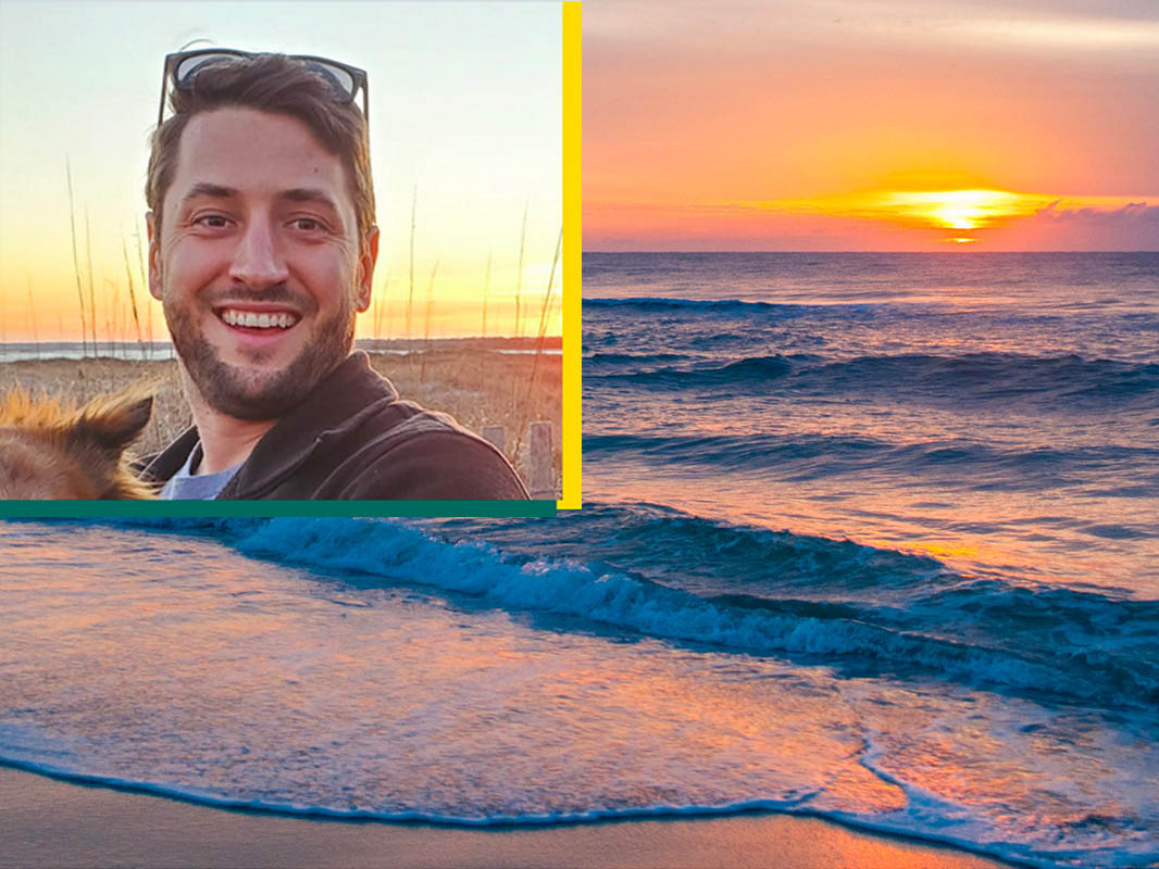A photo of Ryan Mieras superimposed on a sunrise photo from the beach to emphasize Mieras' role as the first hire in the UNCW coastal engineering program.