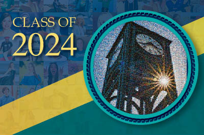 Class of 2024 banner with a round mosaic of the clock tower. The mosaic is made from photos sent in by the UNCW Class of 2024.