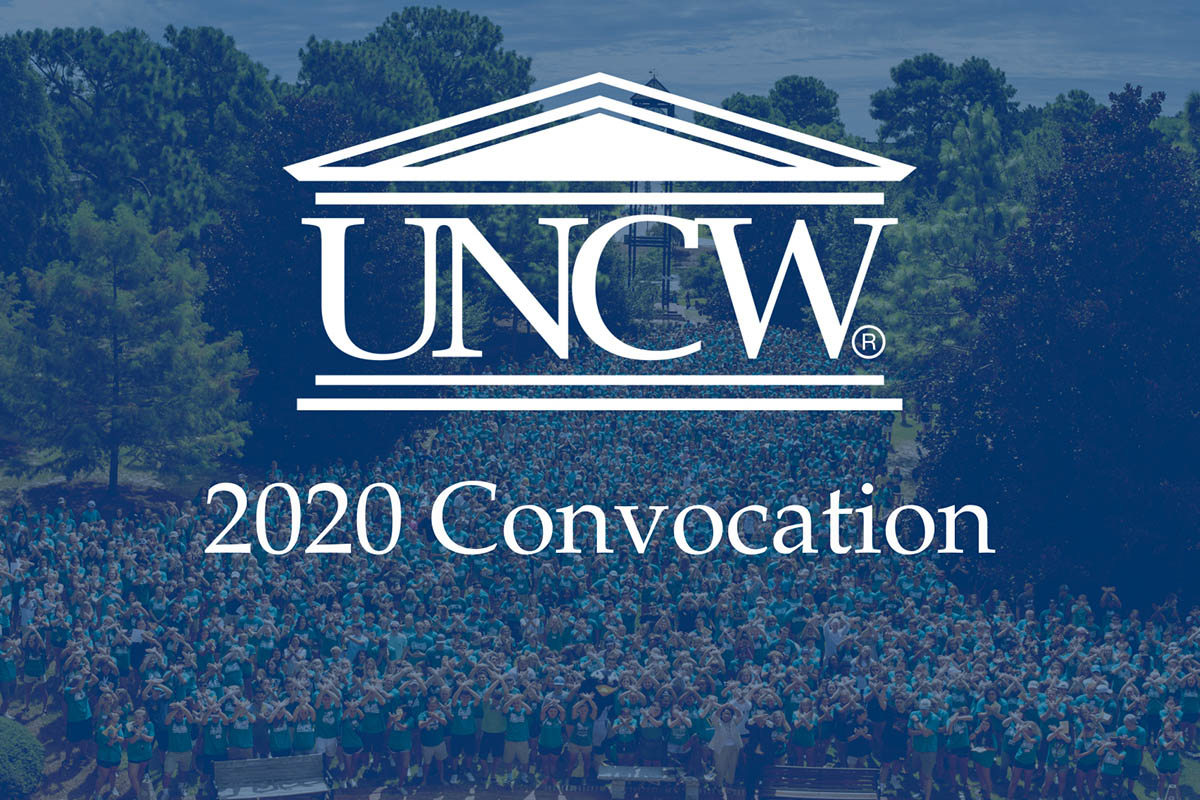 """Decorative image: UNCW logo and """"2020 Convocation"""" superimposed on a faint photo of the annual class picture at the Clock Tower."""