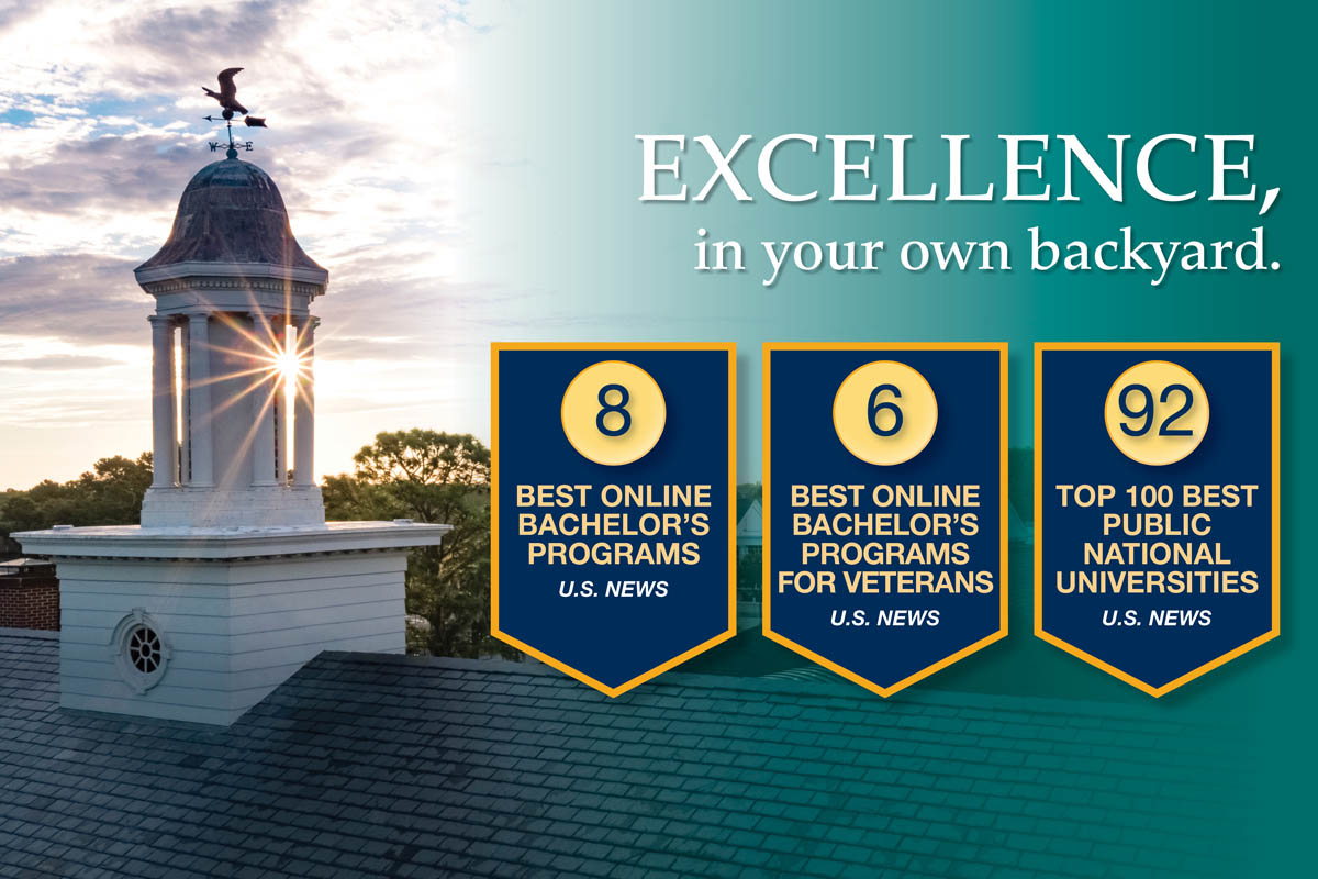 Photo of cupola on top of Hoggard Hall with Seahawk weather vane, overlayed with banners showing UNCW's rankings. Text: EXCELLENCE, in your own backyard.