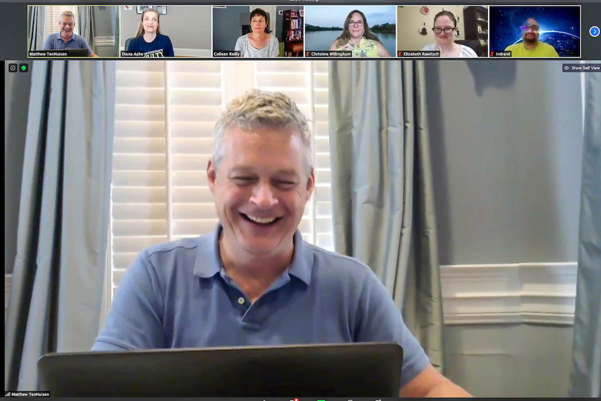 A Zoom meeting. CTE/CFL Associate Director Matthew TenHuisen is pictured in the large frame. Other participants are seen in the smaller frames at the top.