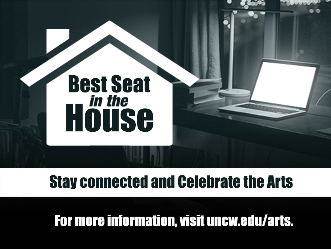 """A house-shaped logo with """"Best Seat in the House"""" written inside it on top of a photo of an open laptop computer on a desk. Text at bottom: Stay Connected and Celebrate the Arts"""