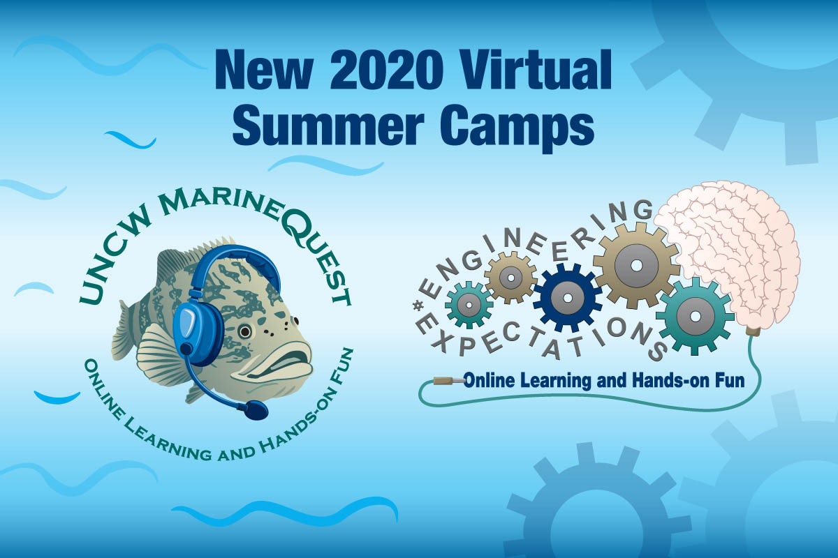 """A blue background with waves on one side and gears on the other; a fish on the left wearing headphones with the UNCW MarineQuest logo above and """"Online Learning and Hands-on fun"""" at the bottom. At right, a series of gears and a brain; text all around the gears reads """"Engineering Expectations."""" Text at top: New 2020 Virtual Summer Camps,"""