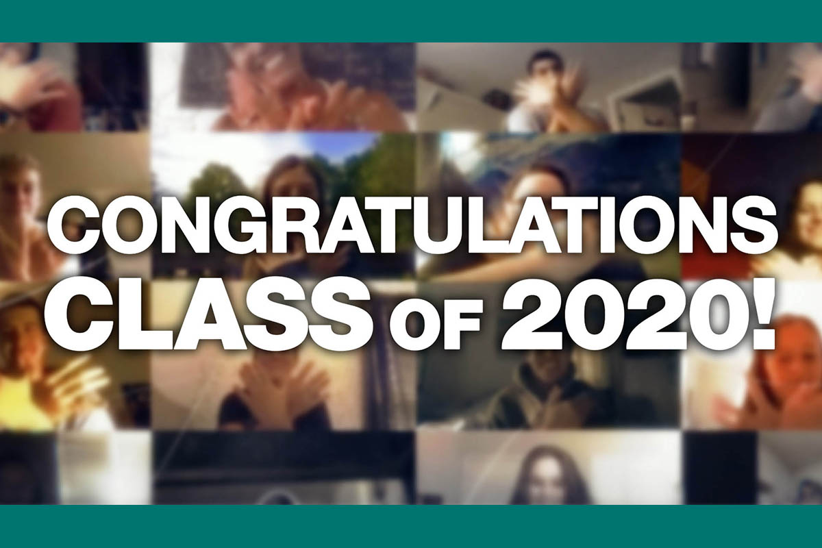 Images from a Zoom meeting in the background. Text, in white: Congratulations Class of 2020!