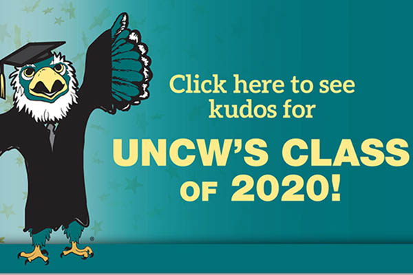 Sammy in cap and gown on a teal background. Text, in gold: Click here to see kudos for UNCW's Class of 2020!
