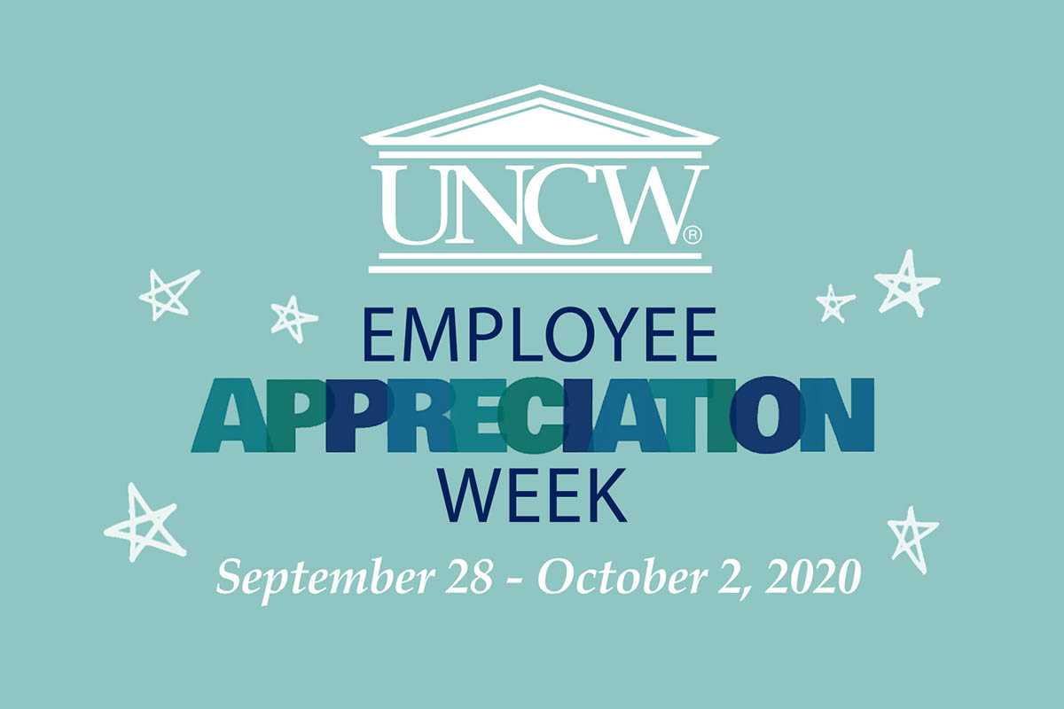 Light teal background with some stars. Text: UNCW Employee Appreciation Week, September 28-October2, 2020