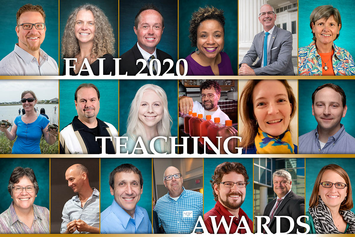 Collage of UNCW faculty who were honored at the annual fall meeting in September. Names are in the story.