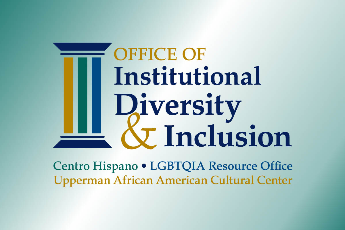 Logo for the Office of Institutional Diversity & Inclusion on a teal translluscent background. The logo incluse three columns.