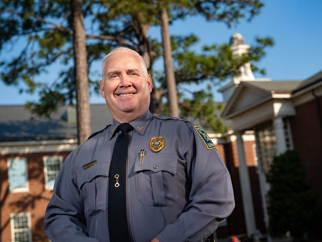 Chief Donaldson on the front lawn of campus.