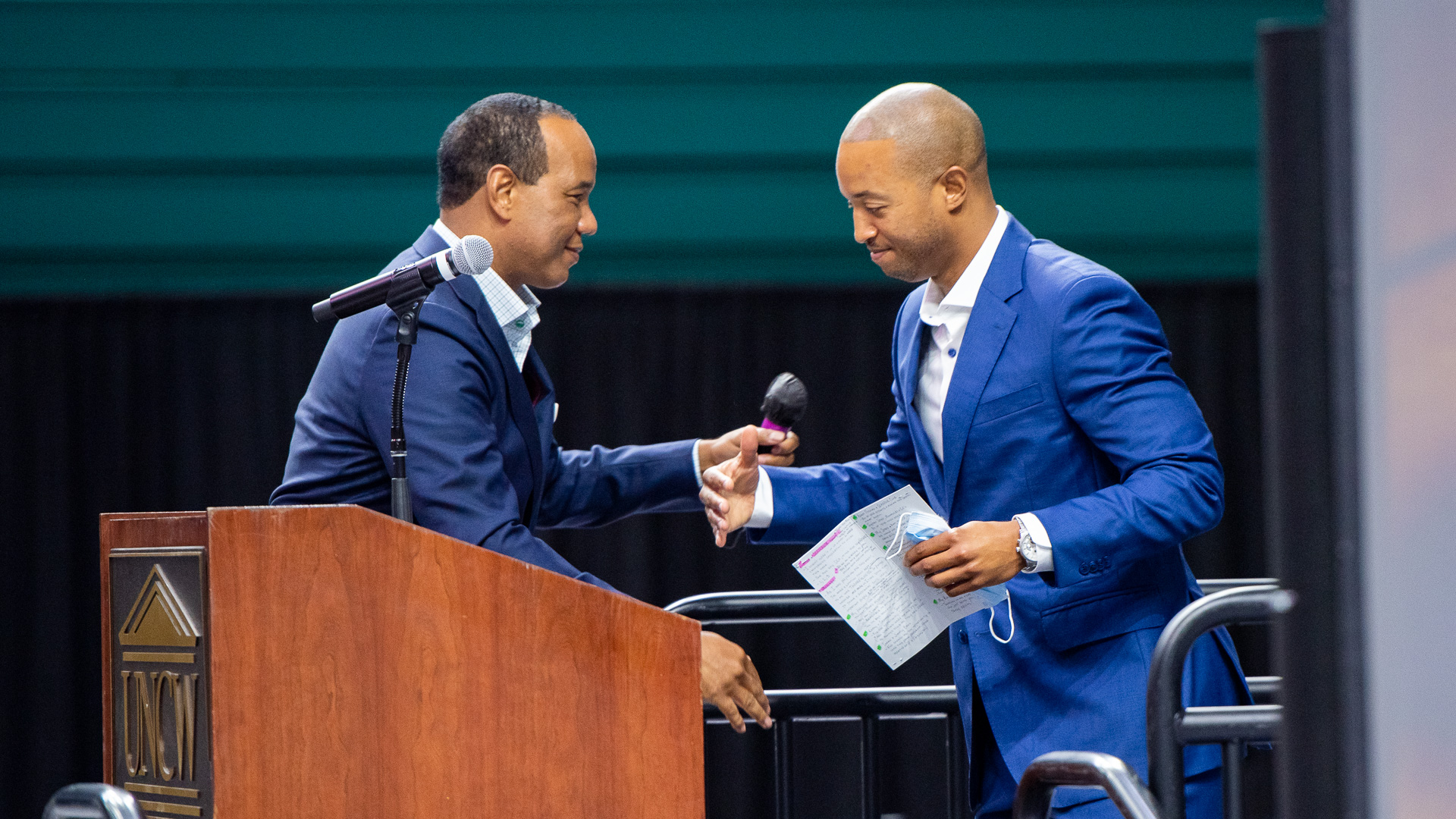 Coach Kevin Keatts (left) and Coach Takayo Siddle