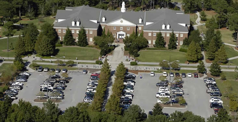aerial shot of Alderman parking lot