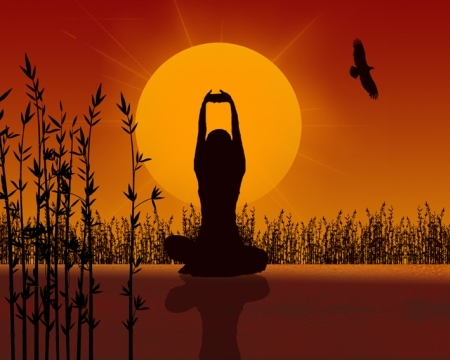 Yoga sitting posture in nature with hands folded raised above head to sky; red sun in background.