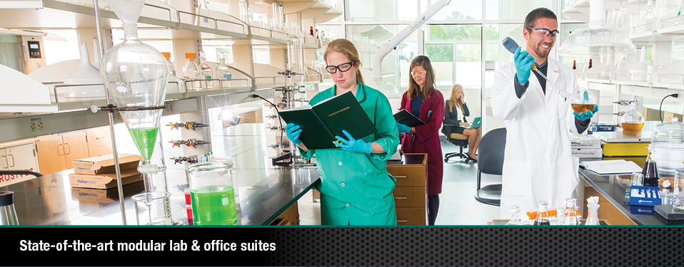 State-of-the-art modular lab & office suites. (With image of researchers in lab)