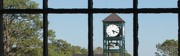 view of clocktower from inside Randall Library