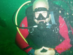 Jon Schneiderman in scuba gear and underwater - Click for a larger photo.
