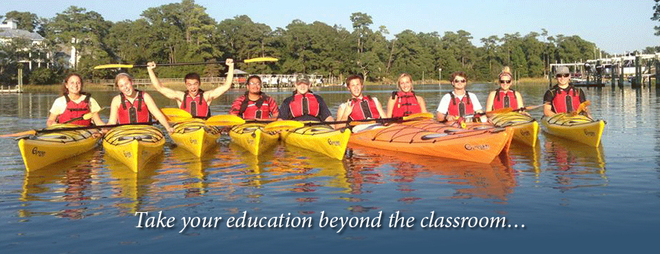 Image of students in kayaks with message