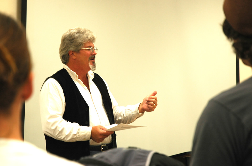 Terry Linehan teaching in classroom