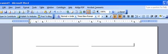 Microsoft Word screen shot showing the tabs setup on the rule bar and two committee lines created in the page below.