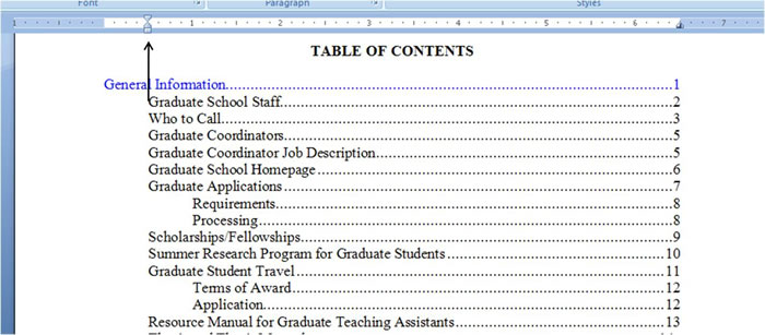 table of contents word 2007 thesis