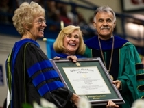 Provost and Chancellor present honorary degree to Hannah Dawson Gage
