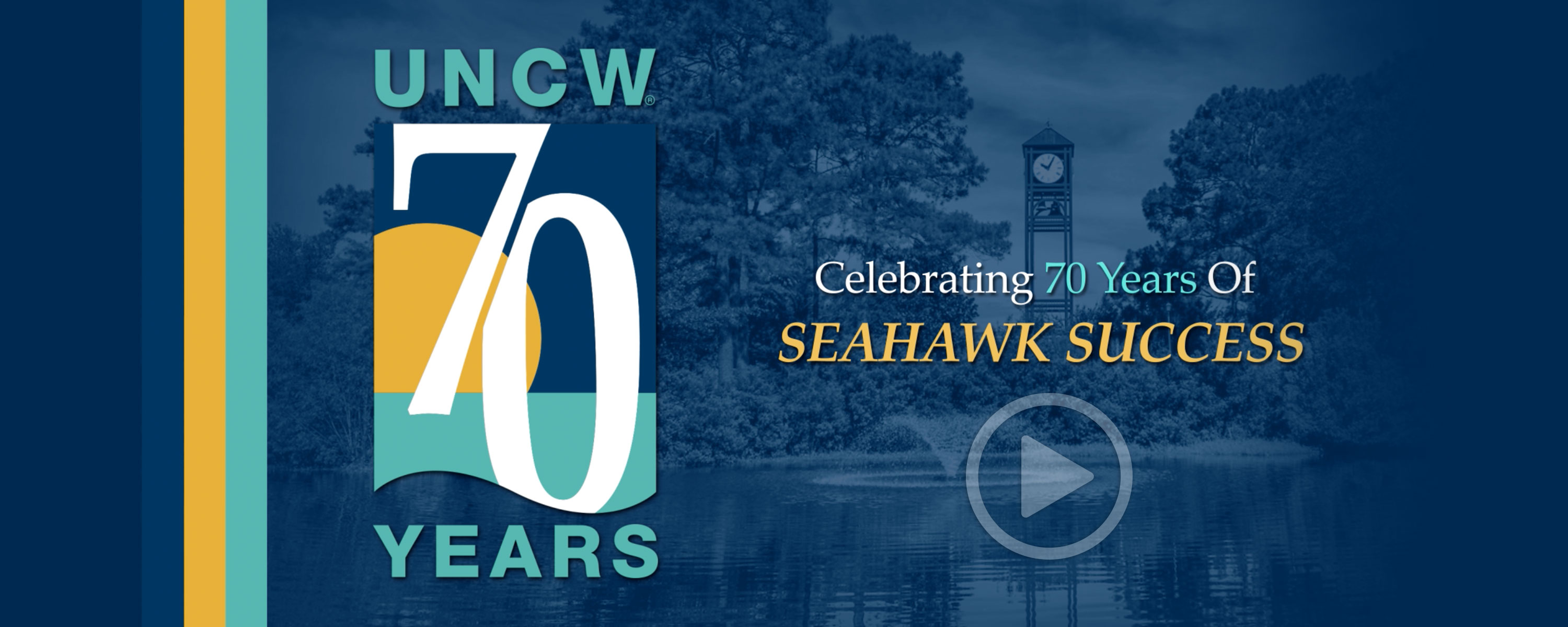 70 Years of Seahawk Success - 70 logo and video play button