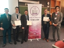 Pictured left to right: Diarmuid Gallagher (Hult Prize organizer), Elliott Gunning, Lee Mauldin, Scott Davis and Haythem Abidi (Hult Prize organizer)