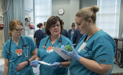 School of Nursing students participate in a trauma simulation