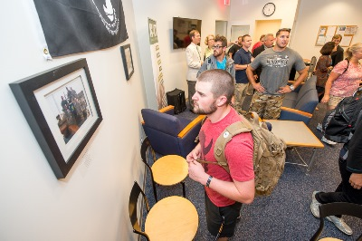 Student veterans visit the UNCW Military Resource Lounge.