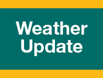 A teal and yellow logo that says weather update
