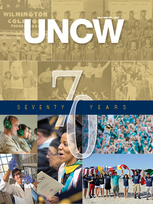 UNCW Magazine cover with image 70th icon