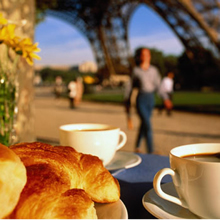 Coffee, baguette, and Eiffel Tower