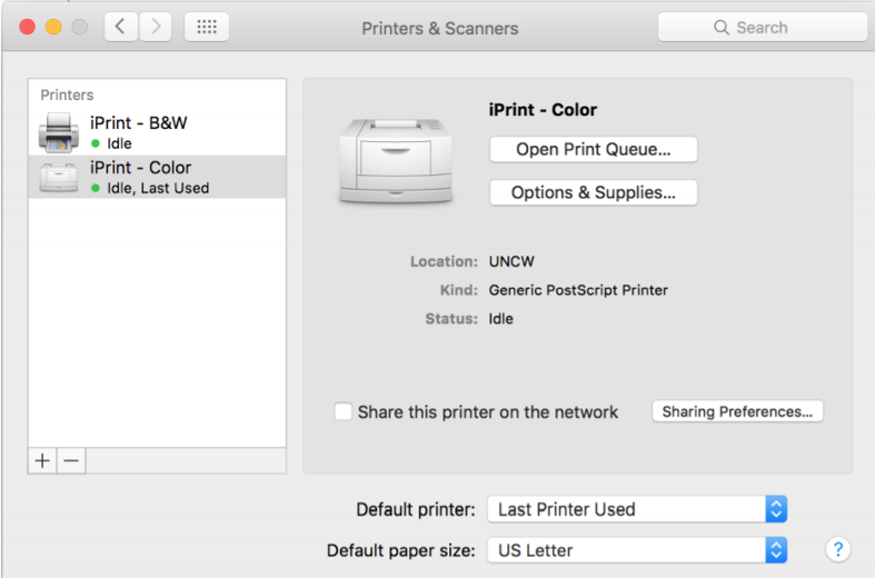 "As shown below, your new ""Printer and Scanner"" screen should show the printers that you just added"