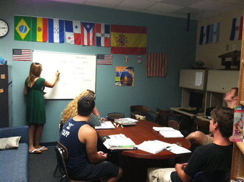 students participating in our spanish conversation center