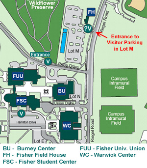 Location of Free Visitor Parking in Lot M