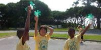 MarineQuest summer camp boy participants with wind machines