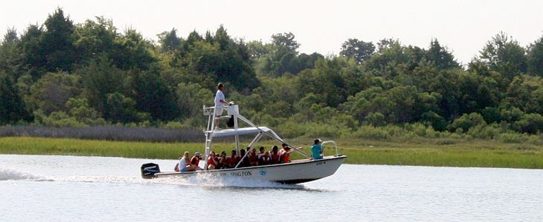 UNCW MarineQuest Marine Science stuends on a boat