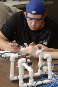 Student working on a ROV
